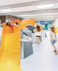 Play is at the heart of the Children's Library in Billund. With bright and imaginative installations, our design combines games, learning, wonder, and physical movement in an exciting venue for all ages. Gray Island, Children's Library, Education Architecture, Learning Environments, Physics, Innovation, Nursery, Classroom, Bright