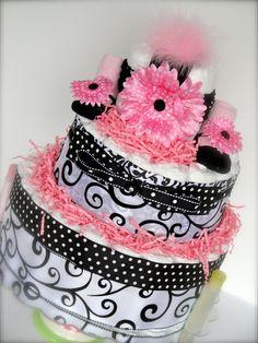 Damask Diaper Cake - Black, White/ Pink Damask Baby Girl Diaper Cake Shower Centerpiece- 3 Tier