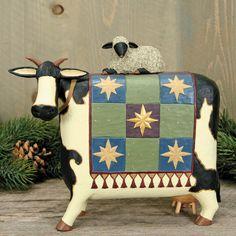 Folk Art Christmas Cow Figurine - Christmas Folk Art & Holiday Collectibles - Williraye Studio