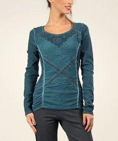Look at this #zulilyfind! Blue Swirl Crisscross Lace Scoop Neck Top #zulilyfinds