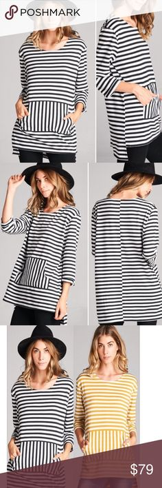 """S-L Front Pocket Stripe Tunic Top Front Pocket Stripe Tunic Top with side slit detail. Length front 28"""" & back 31"""" - Chic boxy fit. High quality MADE IN USA!!! Color: Black in stock, mustard stripe pre-order in comments. Fall high fashion!!! Sizes S-L Tops Tunics"""