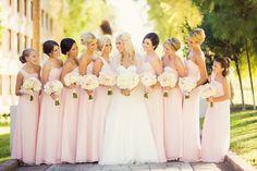 Beautiful light pink bridesmaids dresses. - Photo by: www.trevordayley.com