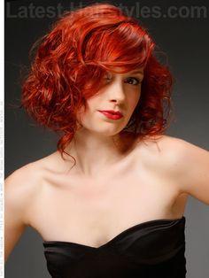 Rebel in Red Gorgeous Curly Fun Bob Swooping Bangs