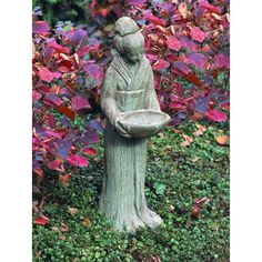 Campania International, Inc Oriental Maiden with Bowl Statue Color: Travertine