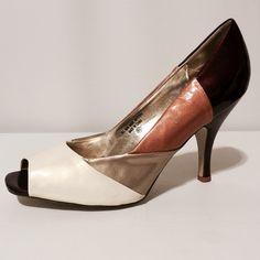 "Metallic Color Blocked Peep Toes Heels 🌺 4/7 Best in Shoes HP by @leleperry64 🌺Amazing shoes! Patten leather metallic heels in copper, gold, wine and cream. Never Worn. 3"" heels Shoes Heels"