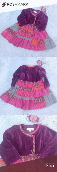 Catimini Dress with Headband - 18M🐼HP@joyamarino Long sleeve wine velvet bodice, fabric trimmed neck with a bow at the waist, strips of different fabrics to the hem, lined. Hidden snaps down the front. 100% Cotton Lining 100% Polyester. Headband is not Catimini but included to wear with the dress if desired. New Condition. French Designer Brand Catimini Dresses Formal