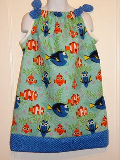 Disney Finding Dory All Smiles, Girls Dress, Pillow Case Dress, Size 6m, 12-18m, 18-24m, and Size 2 to 8, Nemo, Marlin, Disney Outfit by DesignsByGranGran on Etsy