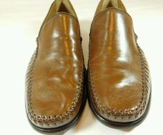 Brass Boot Saddle Tan Leather Slip on Loafers Size 10.5M #BrassBoot #LoafersSlipOns