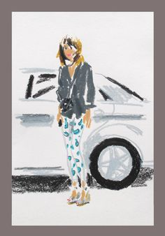 London Fashion Week: Damien Florébert Cuypers's quick illustrations of the fashion set.  Alexa Chung.