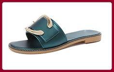 RuiMetallschnalle G¨¹rtelschnalle Dame Pantoffeln Wort ziehen flache Sandalen und Pantoffeln , C , US6 / EU36 / UK4 / CN36 - Sandalen für frauen (*Partner-Link)
