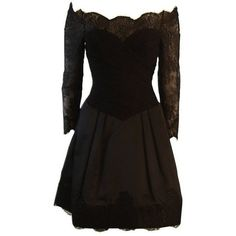 Preowned Vera Wang Black Off The Shoulder Silk Cocktail Dress With 3/4... ($1,695) ❤ liked on Polyvore featuring dresses, short dresses, black, vestidos, cocktail dresses, off shoulder cocktail dress, evening cocktail dresses, silk cocktail dress, short sleeve dress and short evening dresses