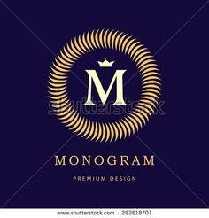 Monogram design elements, graceful template. Calligraphic elegant line art logo design. Letter M. Vintage Insignia or Logotype. Business sign, identity, label, badge, Cafe, Hotel. Vector illustration - stock vector