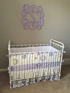 Lilac and gray floral chevron designer crib nursery bedding.  Made to order.  baby girl
