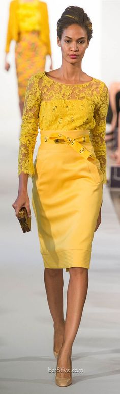 yellow lace top, skirt @roressclothes closet ideas women fashion outfit clothing style Oscar De La Renta Spring Summer Ready to Wear 2013: