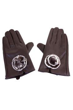 Pom-Pom Faux Leather Gloves