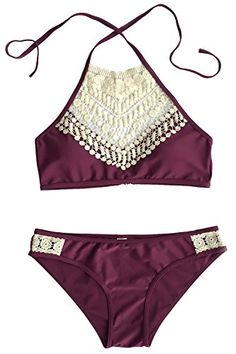 Cupshe Fashion Women's Lace Splicing Halter Padding Tank Bikini Set - http://www.darrenblogs.com/2016/09/cupshe-fashion-womens-lace-splicing-halter-padding-tank-bikini-set/