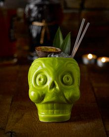 Handmade in England Lime sugar skull tiki mug for your cocktails rockabilly Mexican