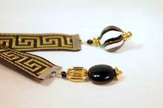 Greek Key Black and Gold Ribbon Glass and Gold by CKDesignsUS, $8.00