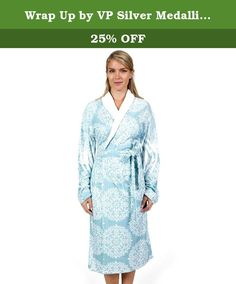 Wrap Up by VP Silver Medallion Aqua Microfiber Long Robe, S/M. Slip into luxury with this elegant robe. The fabric is on another level when it comes to sleek softness. It's ideal for the spa or pool, not to mention just lounging comfortably around the house. Grab one for you and one as a gift. 80% Polyester. 20% Polyamide. Wrap-Up microfiber products combine the soft luxurious comfort and durability of today's technologically advanced microfibers with Wrap-Up's sophisticated styling and…