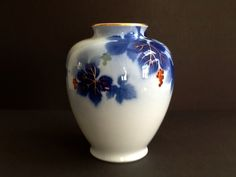Mid Century Fukagawa Porcelain Blue Grape Leaves & Fruit Motif Vase, Made in Arita Japan, Signed Vase, Japanese Vase by GentlyKept on Etsy