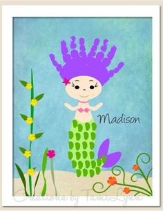 Mermaid Handprint with Ocean Background by CreationsbyTamiLynn, $25.00