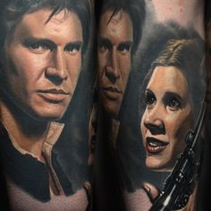 Han Solo & Princess Leia portrait tattoo by Nikko Hurtado