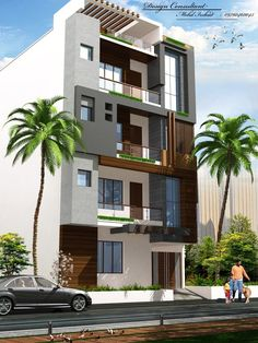 Building Elevation, House Elevation, Front Elevation, Bungalow House Design, House Front Design, Modern House Design, Morden House, House Architecture Styles, Mix Use Building