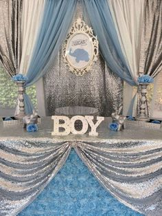 Wanda/ Glam Events by Wanda's Baby Shower / Baby Elephant - Baby Elephant theme baby shower at Catch My Party Baby Shower Decorations For Boys, Boy Baby Shower Themes, Baby Shower Gender Reveal, Baby Boy Shower, Baby Shower Parties, Baby Showers, Elephant Shower, Elephant Theme, Baby Elephant