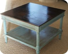 love this look....stained top, spray painted the bottom aqua and used the stain to glaze it. From powerofpaint.net