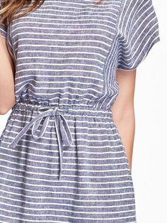 Patterned-Linen Drawstring Dress / Old Navy
