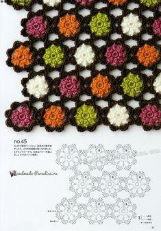 "Photo from album ""Continuous Crochet Motifs on Yandex. Crochet Circles, Crochet Motifs, Crochet Flower Patterns, Crochet Diagram, Crochet Chart, Crochet Squares, Crochet Designs, Crochet Flowers, Crochet Stitches"