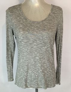 Coldwater Creek Shirt Long Sleeve Top Size S 6 8 Gray and White Striped Career #ColdwaterCreek #BasicLongSleeve #Casual