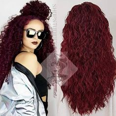 The perfect big hair. Burgundy water wave lace front wig light heat resistant perfect for all skin tones and any occasion Clearance items are final sale no return no exchange Best Lace Front Wigs, Curly Lace Front Wigs, Weave Hairstyles, Pretty Hairstyles, Straight Hairstyles, Love Hair, Big Hair, Balayage Straight Hair, Natural Hair Wigs