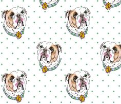 Bulldog with Green Polka Dots fabric by jo_chambers on Spoonflower - custom fabric