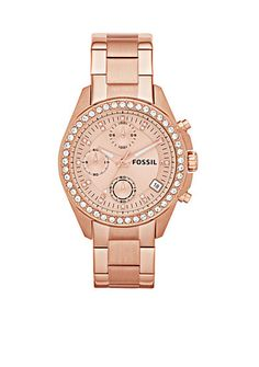 Borrowing from the boys, Decker is updated for her with a striking rose gold-tone case and sparkling crystal dial. This Decker watch also features a chronograph movement on a stainless steel bracelet