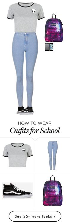 """""""Should I wear this for the first day of school comment ??????"""" by wildcalifornia2016 on Polyvore featuring Topshop, Vans, WithChic and JanSport"""