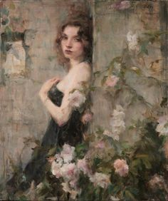 The Garden Wall -  Ron Hicks  American painter b.1965-  Impressionism