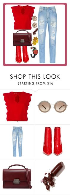 """""""Red & fabulose"""" by women-miki ❤ liked on Polyvore featuring Giambattista Valli, Miu Miu, Amapô, Gianvito Rossi, Yves Saint Laurent, LAQA & Co. and WithChic"""