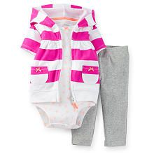 Carter's Girls 3 Piece Printed Bodysuit, Purple/White Striped Short Sleeve Zip Up Hoodie, and Grey Pant Set
