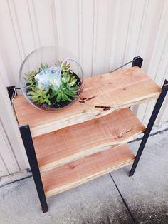 Reclaimed natural edge cedar wood and steel frame bookcase. Furniture bookshelves shelf on Etsy, $326.09 CAD