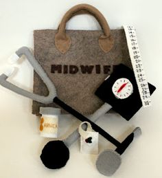 Play felt midwifery kit. My daughter would love this, she always loved to do everything our midwife does at the appointments. So cute.