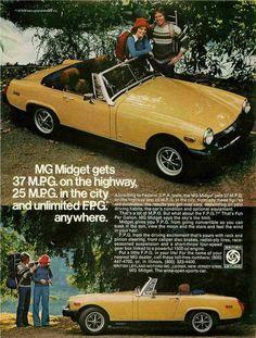 "1976 MGB Midget Yellow Car Ad ""Fun"""