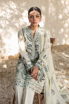 Sophisticated Style, Elegant, City By The Sea, Aqua, Teal, Indian Fashion, Lawn, Bohemian, Pairs