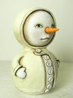 Snowman Original Hand Painted Folk Art Christmas Doll Sculpture OOAK. $140.00, via Etsy.