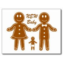 Gingerbread Family New Baby Announcement Postcard