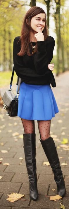 Street Style Looks With Tights: 40 Perfect Winter Outfits That Make A Case For Colorful Hosiery : Lucky Magazine