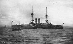 HMS Vengeance, a circa 1901 Canopus-class battleship, 12,950 tons, 4-12 inch guns, 18kts, 750 crew, Dardanelles 1915.   Sold in 1921.  Service record:    Feb 1914-Jul 1915, Dec 1915-Dec 1916, Cape of Good Hope, East Indies Station. Gallipoli Campaign, Dar Es Salaam, Landing Craft, Naval History, East Indies, Navy Ships, Historical Pictures, Royal Navy, War Machine