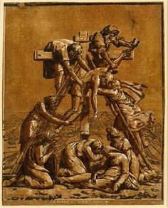 Ugo da Carpi after Raphael - The Descent from the Cross - Chiaroscuro woodcut with three blocks in brown, 1512-1525