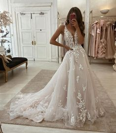 Wedding Dress Trends, Gorgeous Wedding Dress, Princess Wedding Dresses, Dream Wedding Dresses, Ivory Wedding Dresses, Disney Wedding Dresses, V Neck Wedding Dress, Applique Wedding Dress, Glamorous Wedding