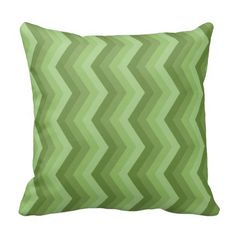 Geometric ZigZag Throw Pillow Shades of Sage Green